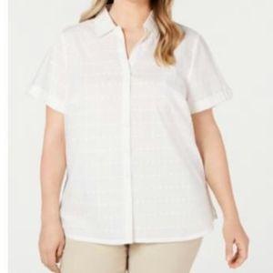 Karen Scott Plus button up Eslet shirt